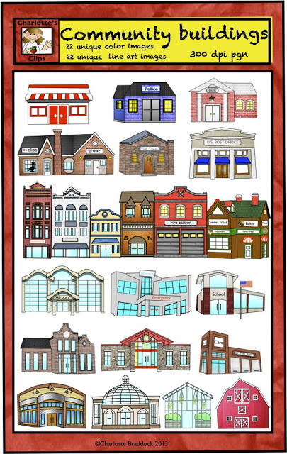 Place clipart community building Buildings Community and Helpers Clip