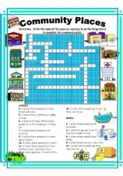 Place clipart community worksheet Community teaching worksheets: Worksheets: Crossword