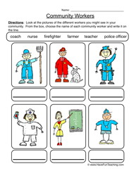 Place clipart community worksheet Jobs community and helpers Community