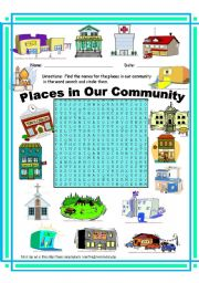 Place clipart community worksheet Places WordSearch English worksheets: Worksheets: