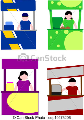 Cart clipart food stall Vector csp19475206 kiosk kiosk of