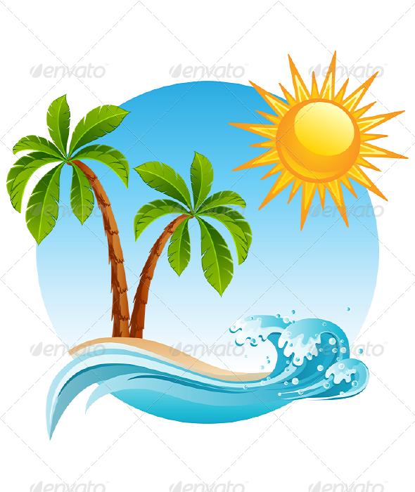 Ocean clipart palm tree Art the Vector Image: island