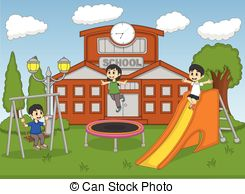 Park clipart school ground School playing Children  Vector