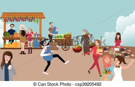 Market clipart traditional market Buying open selling Vector Female