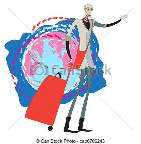 Travel clipart voyager Vector  man portrait a