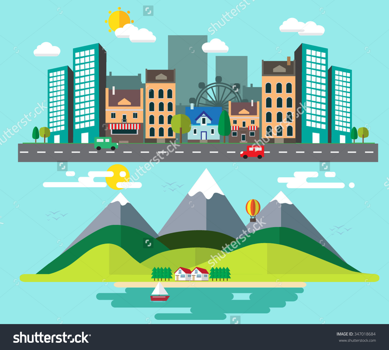Countyside clipart rural town Between Places Different collection Rural