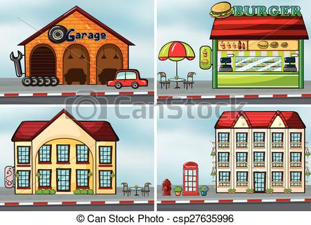 Places clipart different And EPS Vectors Houses shops