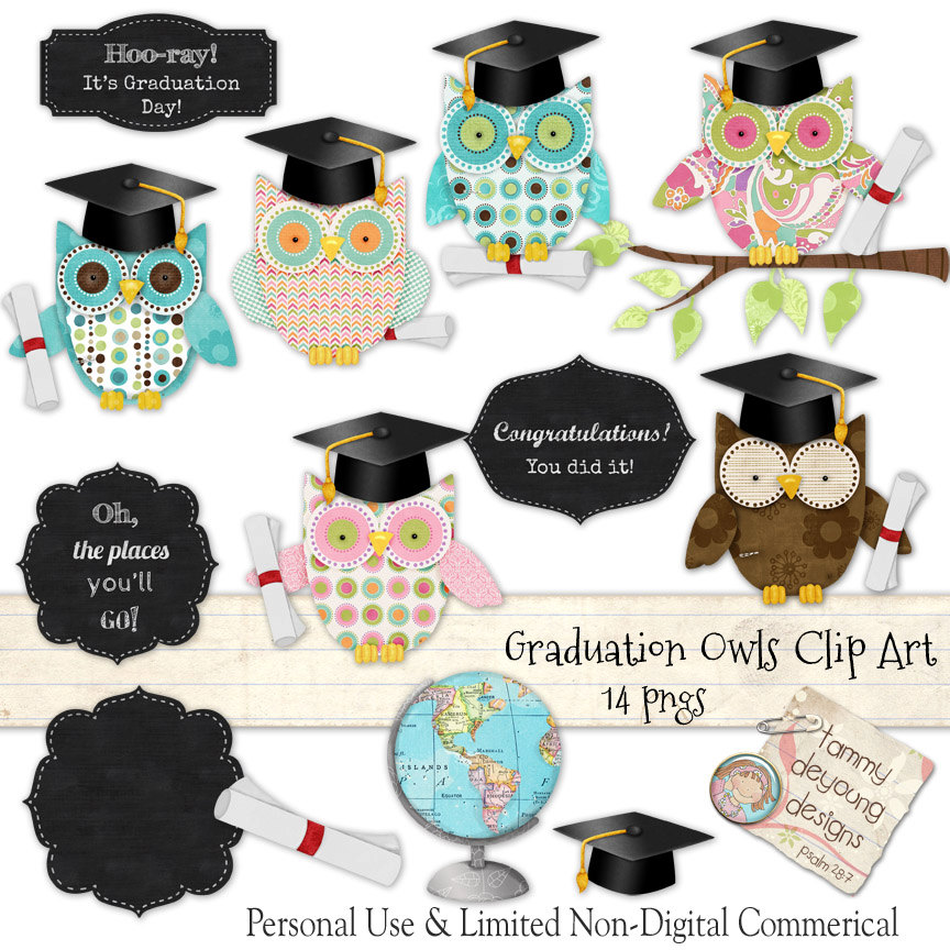 Owl clipart kindergarten Preschool Graduation art clipart Preschool