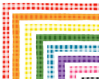 Plaid clipart gingham Drawn Gingham Commercial Border Etsy