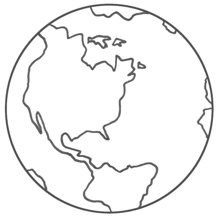 Planet Earth clipart coloring page #3