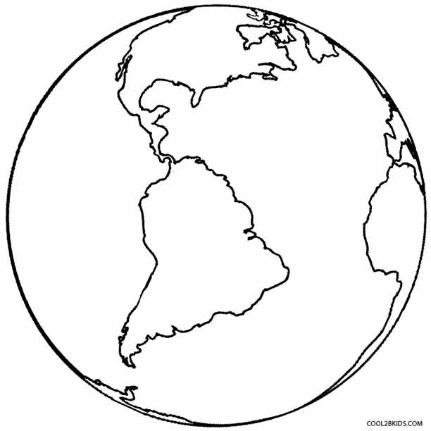 Planet Earth clipart coloring page #6