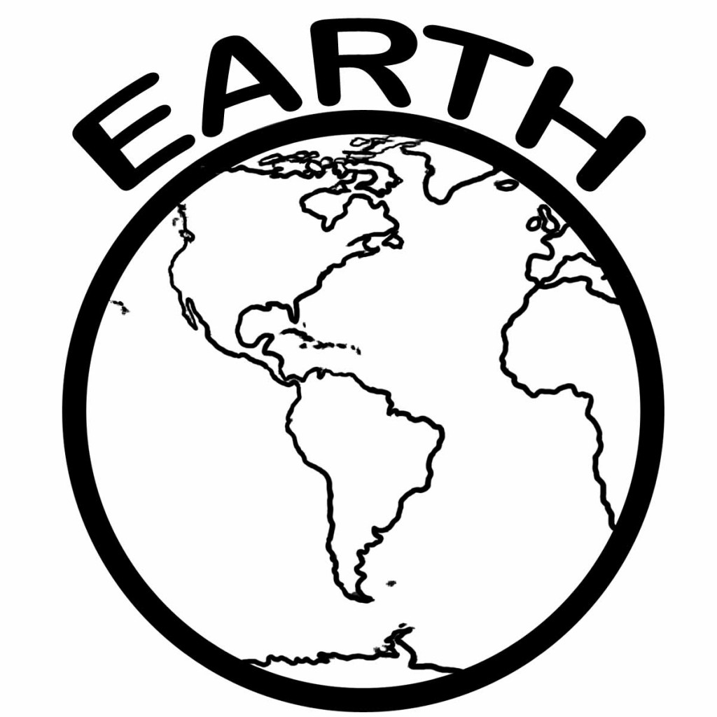 Planet Earth clipart coloring page #1