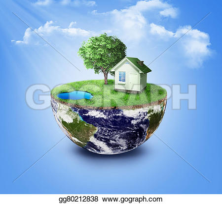 Planet Earth clipart half earth Illustration and Half with landscape