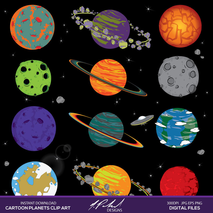 Planets clipart Planets instant digital space Planets