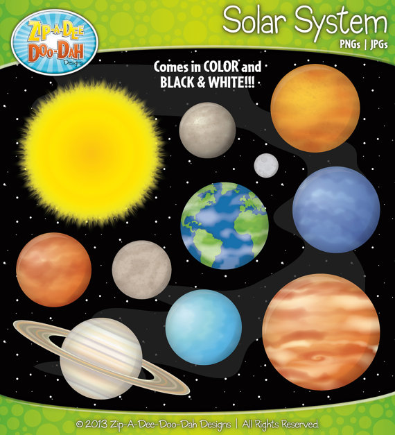 Planet clipart colored Set Solar and System Black