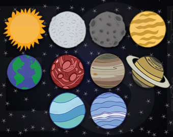 Planet clipart colored Planets Clipart Paper Space Digital