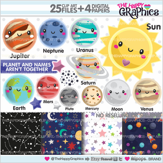 Planet clipart kawaii COMMERCIAL Planet Clipart Space USE
