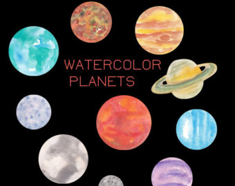 Planet clipart science collage Art Planets Clip Planets Watercolor