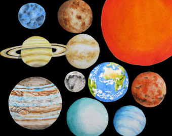 Planet clipart science collage Watercolor system planets Solar Earth