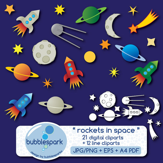 Galaxy clipart space rocket #2