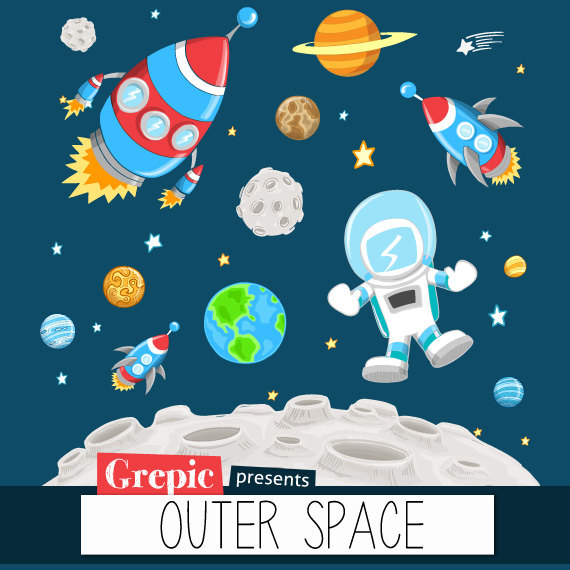 Adventure clipart outer space Astronaut planets clipart: clip space