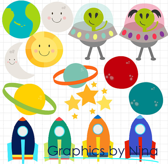 Planets clipart spaceship #2
