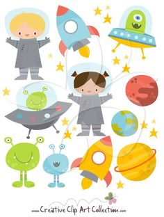 Planets clipart spaceship Rocketship copy Rocket pic Astronaut