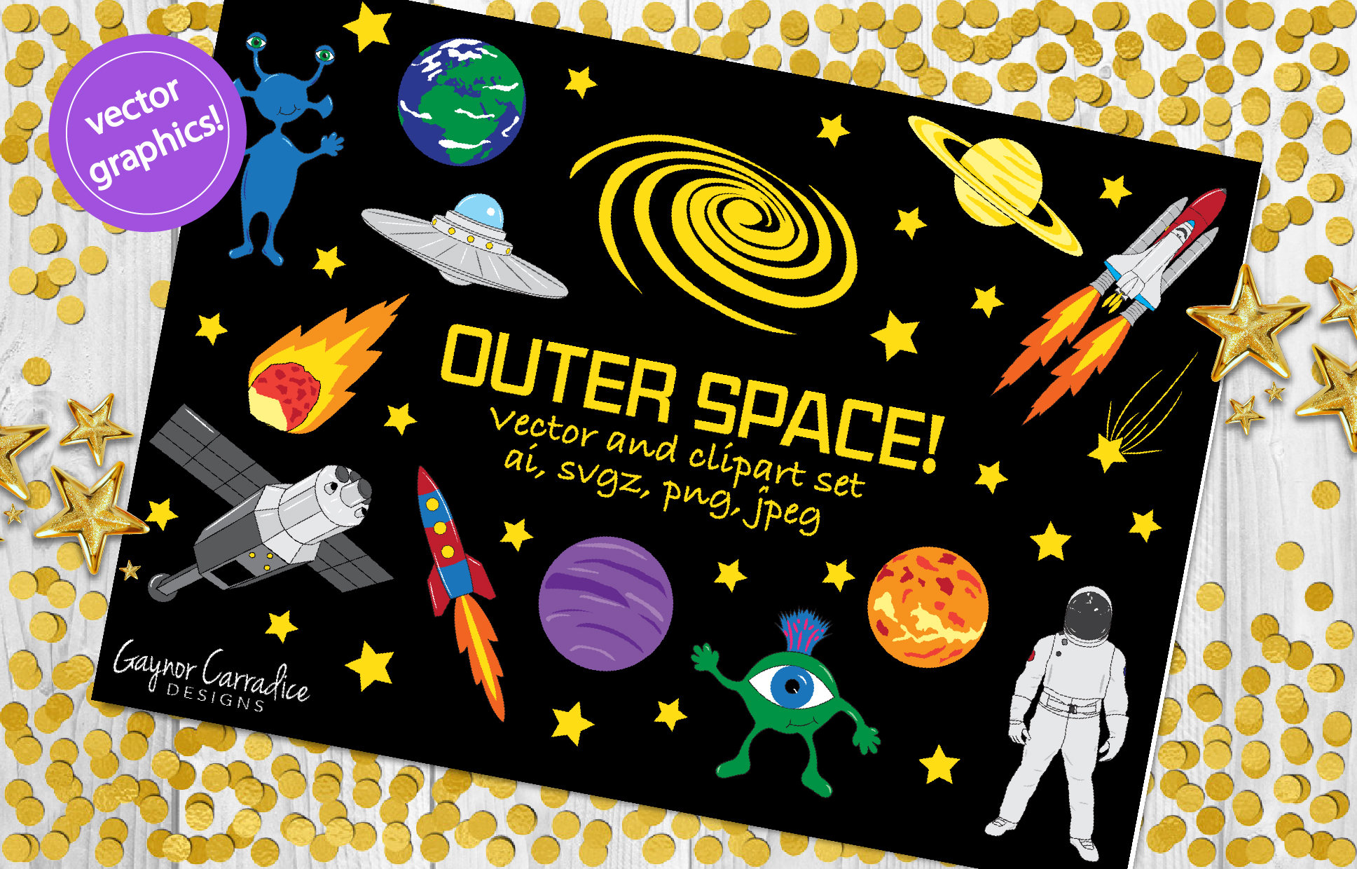 Planets clipart spaceship #13