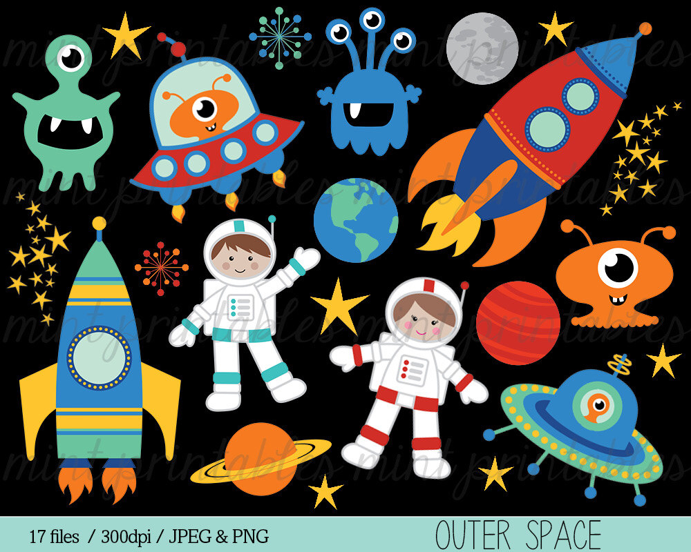 Planets clipart spaceship #4