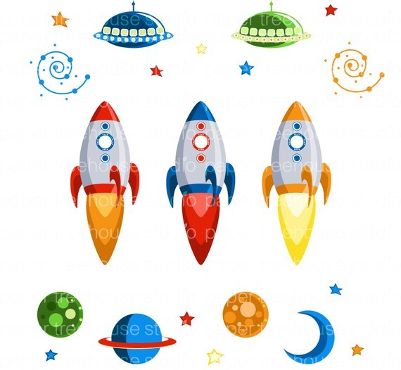Galaxy clipart space rocket #1