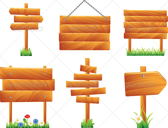 Planks clipart signage Set Wooden Boards Signs Wooden