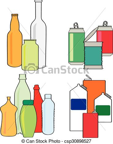 Cans Recycling bottles cartons of