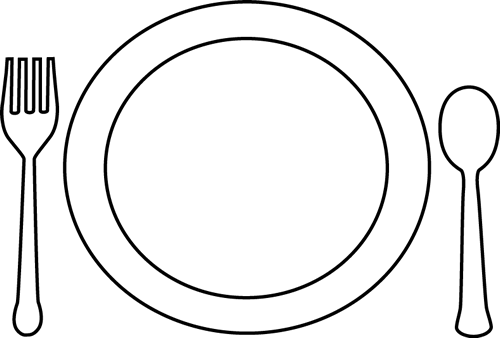 Plate clipart black and white #4