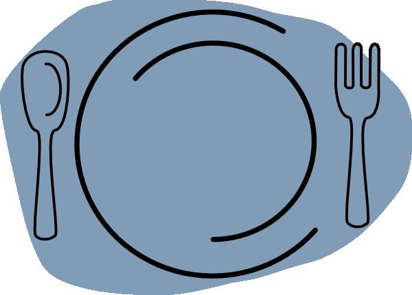 Plate clipart blue #12