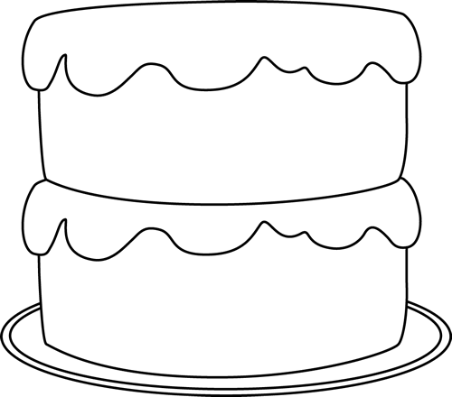 Frosting clipart black and white Cake and a Plate Cake