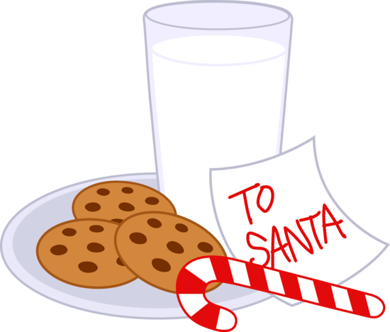 Santa clipart milk and cookie #5