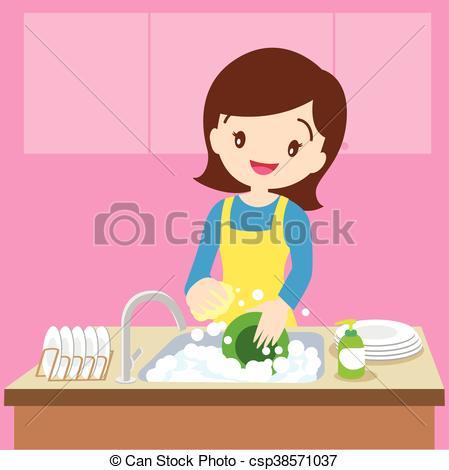 Woman clipart washing dish 21KB washing Dish Mom art