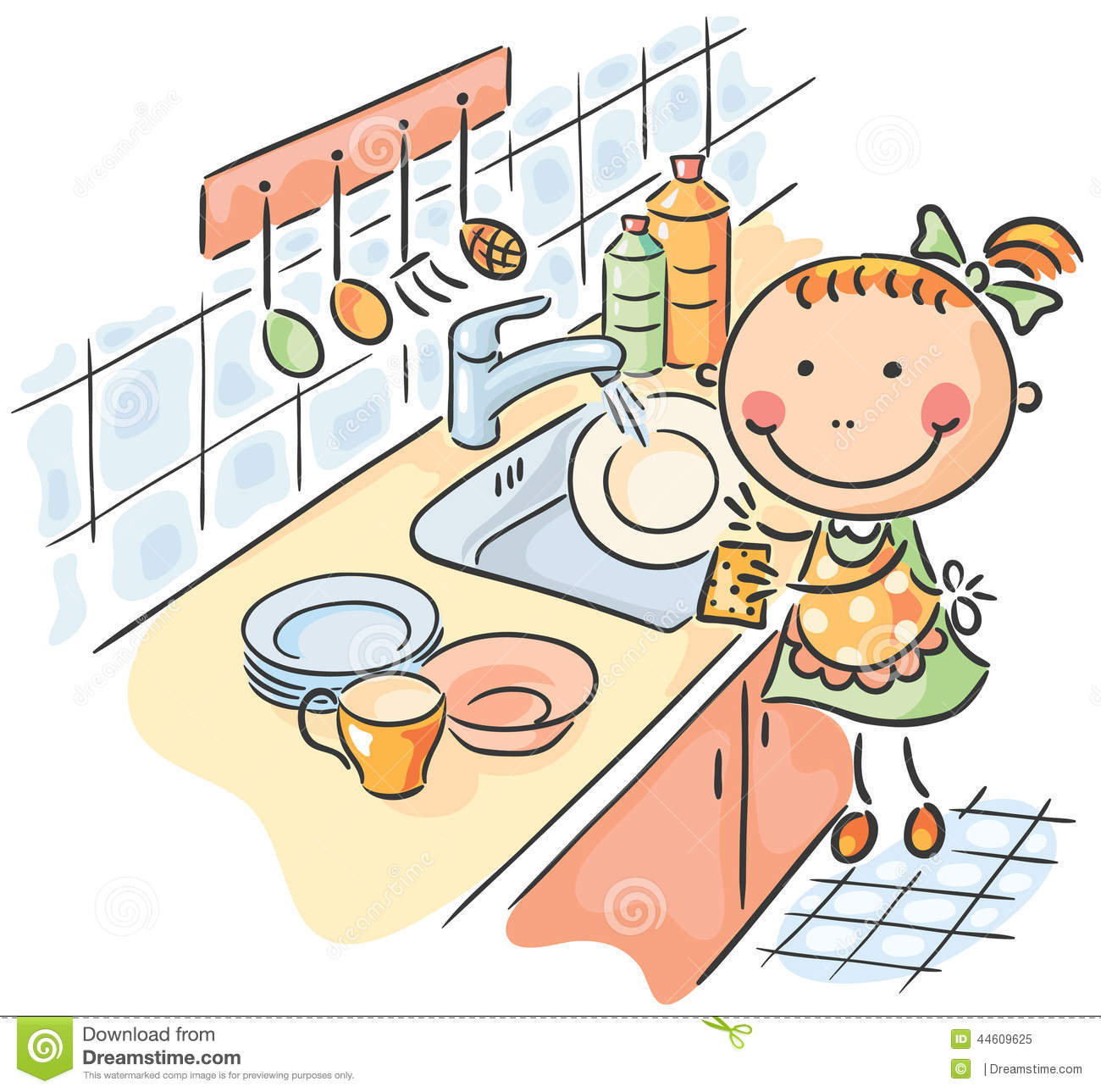 Woman clipart washing dish Kids – Illustrations Stock dishes