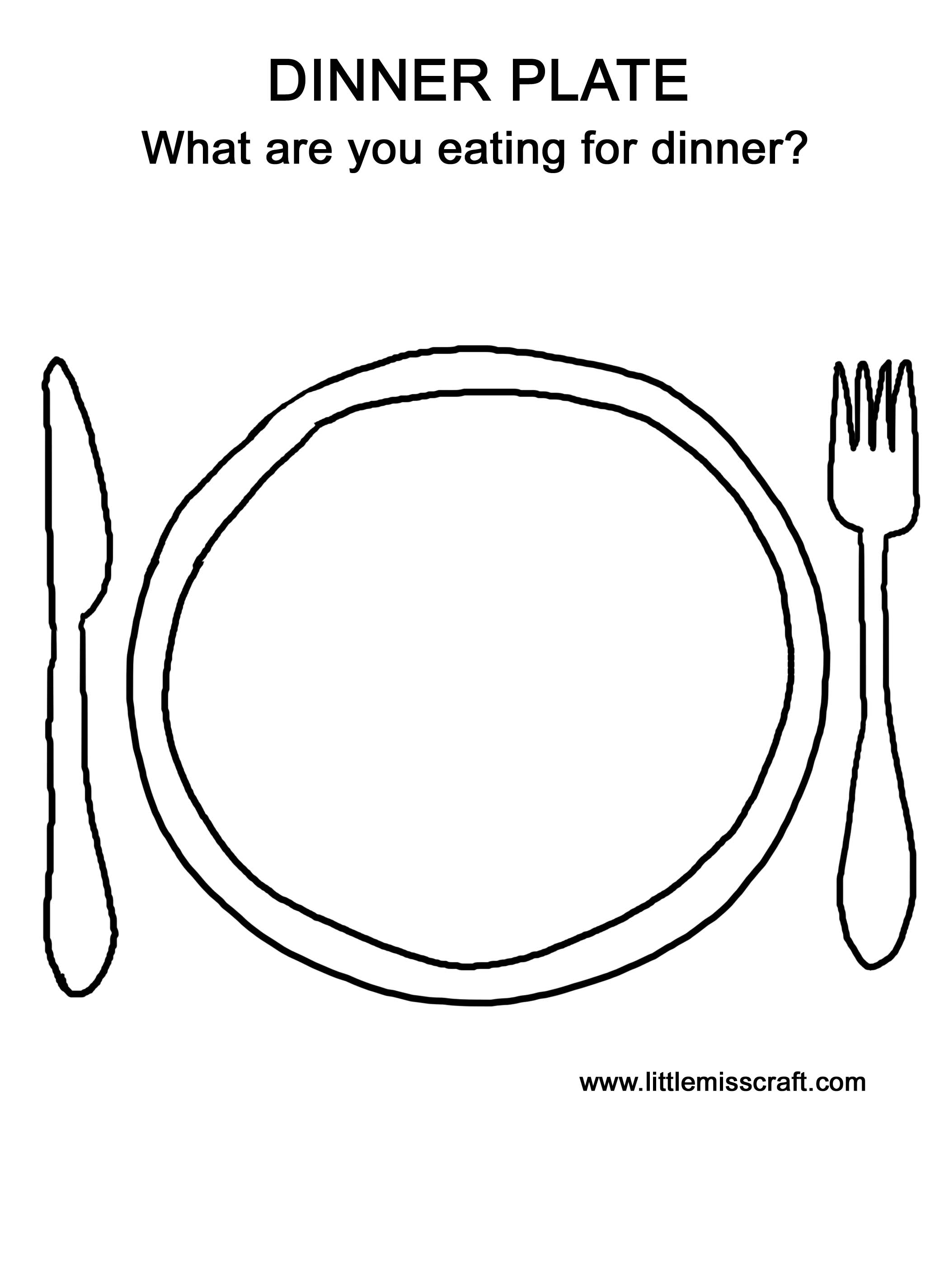 Plate clipart coloring page #12