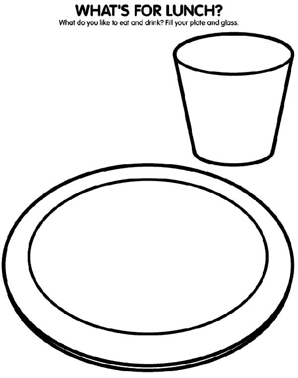 Plate clipart coloring page #3