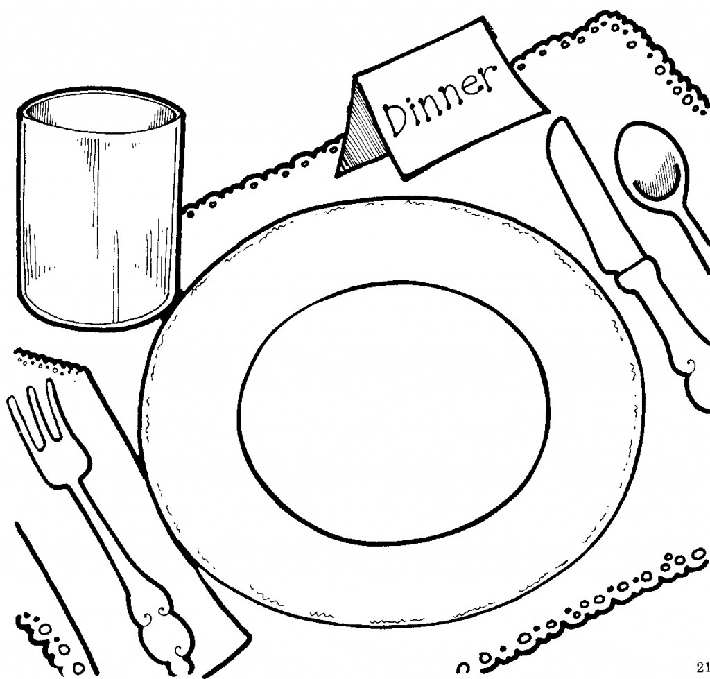 Plate clipart coloring page #4