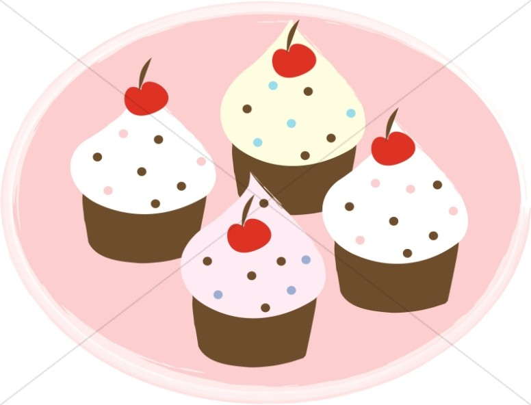 Plate clipart muffin Clipart Four Potluck Food Cupcakes