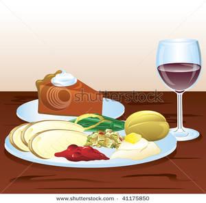 Plate clipart thanksgiving dinner Dinner a a Dinner Glass