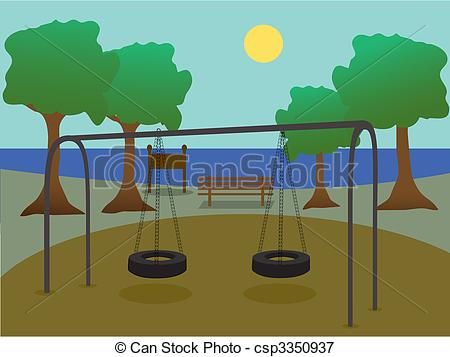 Drawn scenery park playground Playground silhouette Park with Scenic