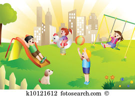 Playground clipart vintage Children playground clipart Vector Clipart
