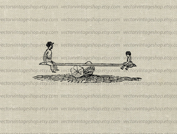 Playground clipart vintage WEB1759AF Seesaw on Vintage Vector