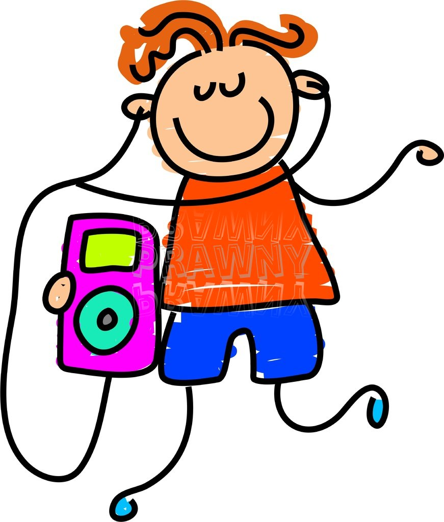 Headphones clipart animated Toddler clipart Kid playing on