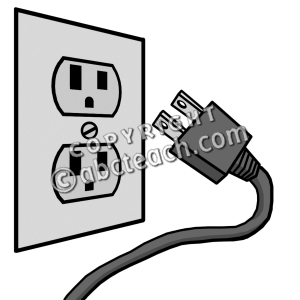 Plugged clipart black and white #9