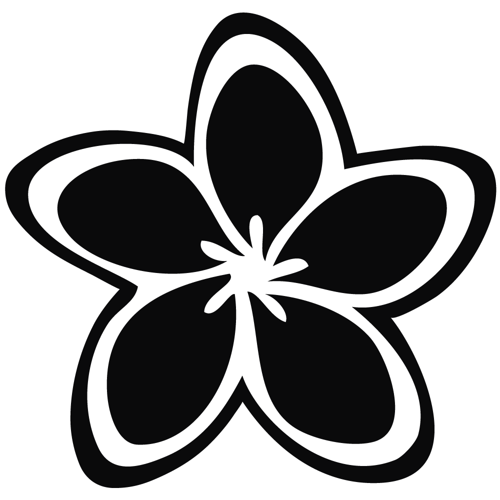 Frangipani clipart black and white #14