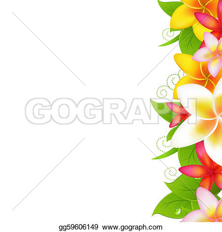 Frangipani clipart leis Pattern Free Plumeria GoGraph Garland